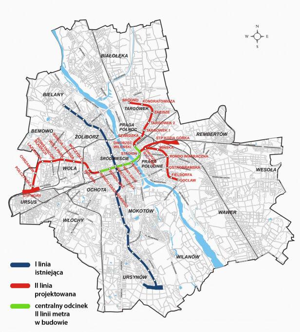 Schemat rozbudowy metra w Warszawie z roboczymi nazwami stacji Metro Warszawskie / tvn24.pl