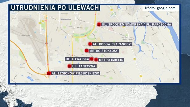 Utrudnienia po ulewach Google Maps / TVN24