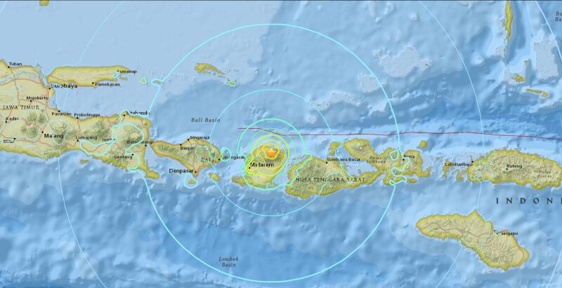 Epicentrum trzęsienia ziemi (USGS)