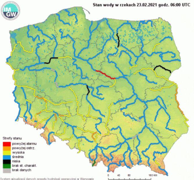 Stan rzek w Polsce o godzinie 6 we wtorek (IMGW)